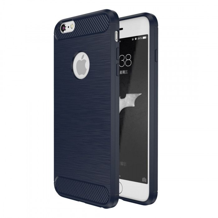 IPAKY Carbon Fiber Decorated Brushed Grain Ultra Thin TPU Full Surround Back Cover Case For iPhone 6/6S Plus
