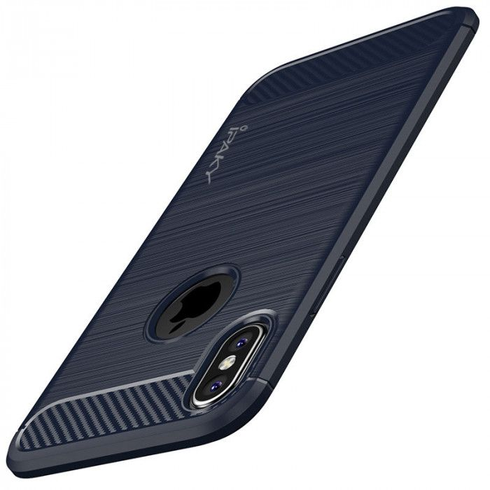 IPAKY Carbon Fiber Decorated Brushed Grain Ultra Thin TPU Full Surround Back Cover Case For iPhone X