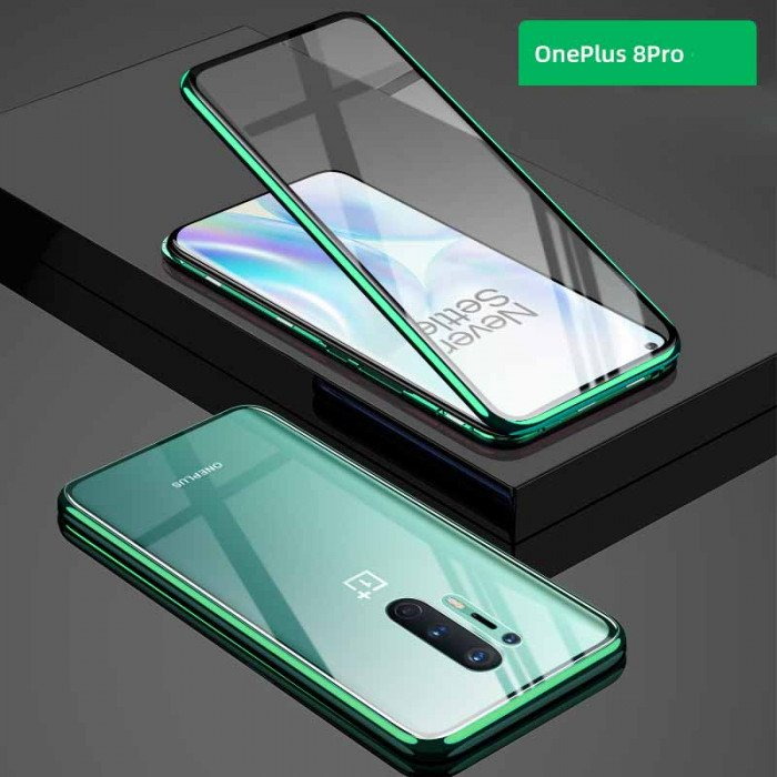 Double Sided Toughened Glass Magnetic Adsorption Metal Frame For OnePlus 8 Pro/OnePlus 8