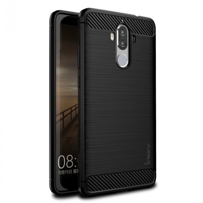IPAKY Carbon Fiber Decorated Brushed Grain Ultra Thin TPU Full Surround Back Cover Case For Huawei Mate 9