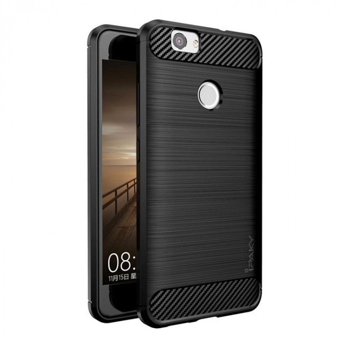 IPAKY Carbon Fiber Decorated Brushed Grain Ultra Thin TPU Full Surround Back Cover Case For Huawei Nova