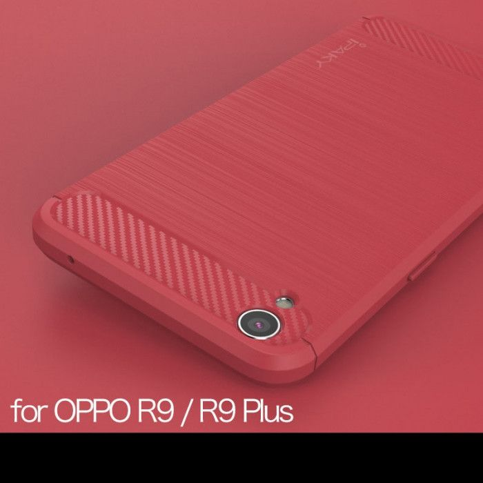 IPAKY Carbon Fiber Decorated Brushed Grain Ultra Thin TPU Full Surround Back Cover Case For OPPO R9 Plus / R9