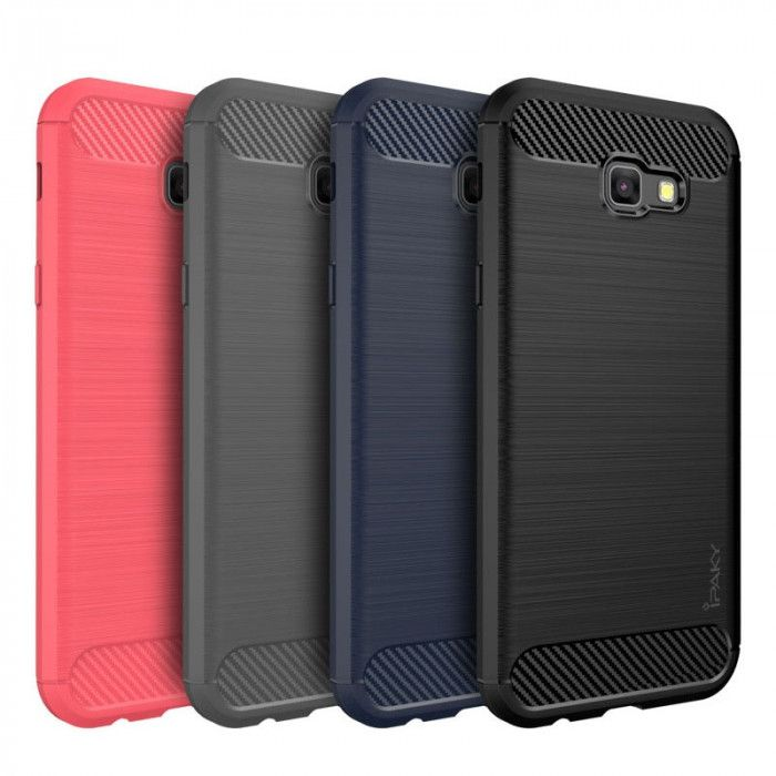 IPAKY Carbon Fiber Decorated Brushed Grain Ultra Thin TPU Full Surround Back Cover Case For Samsung Galaxy A3/A5/A7 2017