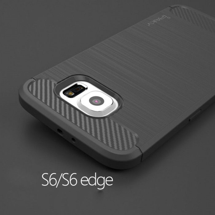 IPAKY Carbon Fiber Decorated Brushed Grain Ultra Thin TPU Full Surround Back Cover Case For Samsung Galaxy S6 Edge / S6