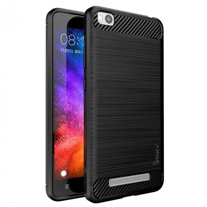 IPAKY Carbon Fiber Decorated Brushed Grain Ultra Thin TPU Full Surround Back Cover Case For Xiaomi Redmi 4A