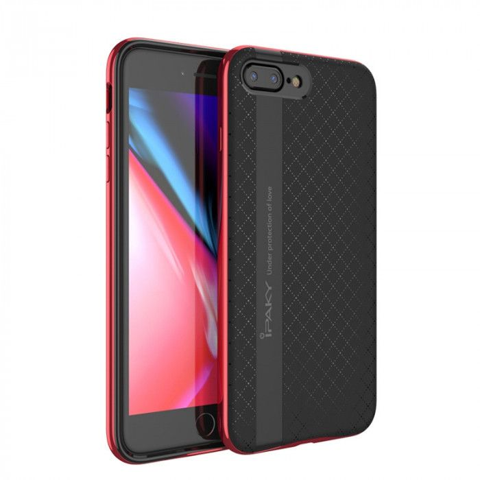 IPAKY Hybrid Case PC Frame With Silicone Protective Cover Case For iPhone 7/8 Plus