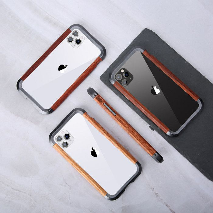 R-Just 2ND Generation Metal & Wood Shockproof Bumper Protective Case For iPhone 11 Pro Max/11 Pro/11/XR