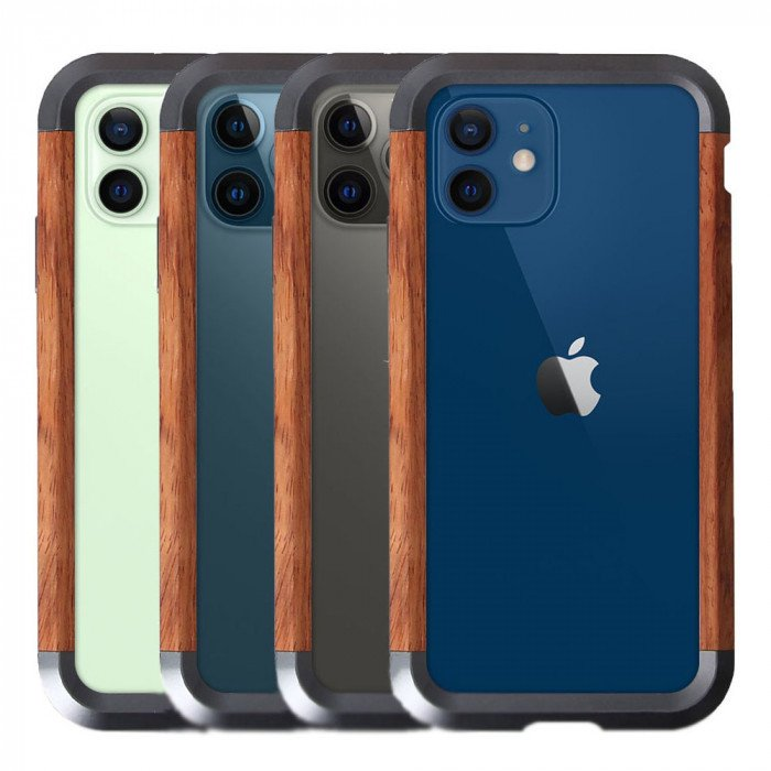 R-Just 2ND Generation Metal & Wood Shockproof Bumper Protective Case For iPhone 12 Pro Max/12 Pro/12 Mini/12