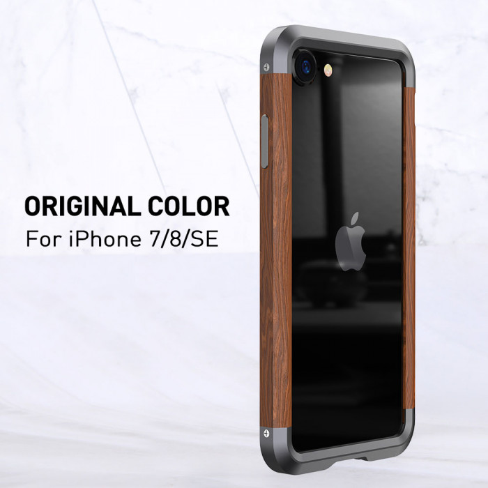 R-Just 2ND Generation Metal & Wood Shockproof Bumper Protective Case For iPhone 7/8/SE