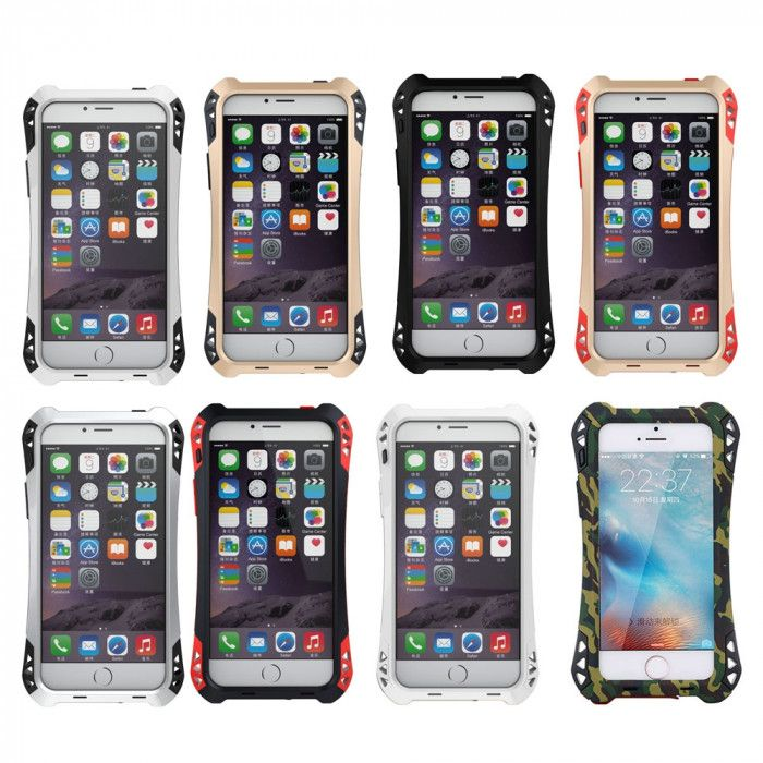 R-Just AMIRA Series Dirt Proof & Shock Proof Powerful Metal & Silicone Protective Case For iPhone 5/5S/SE