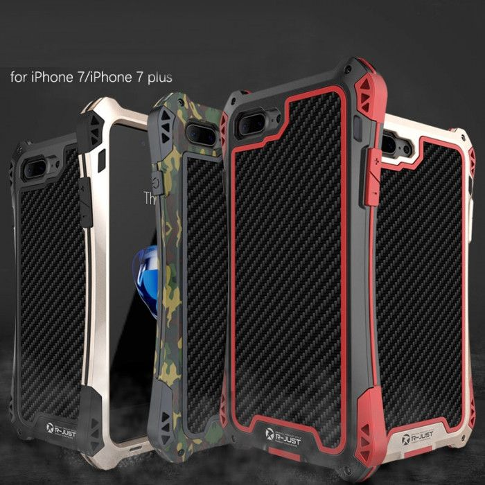 R-Just AMIRA Series Dirt Proof & Shock Proof Powerful Metal & Silicone Protective Case For iPhone 7/7 Plus