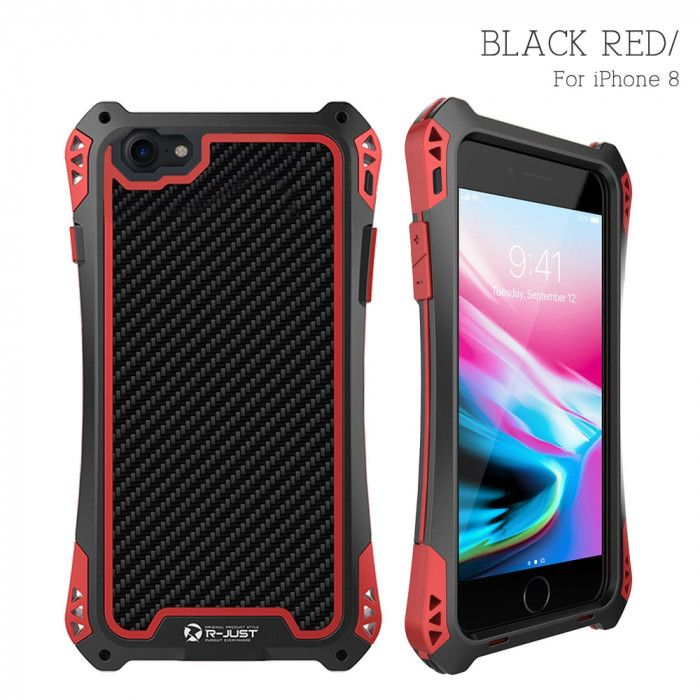 R-Just AMIRA Series Dirt Proof & Shock Proof Powerful Metal & Silicone Protective Case For iPhone 8/8 Plus