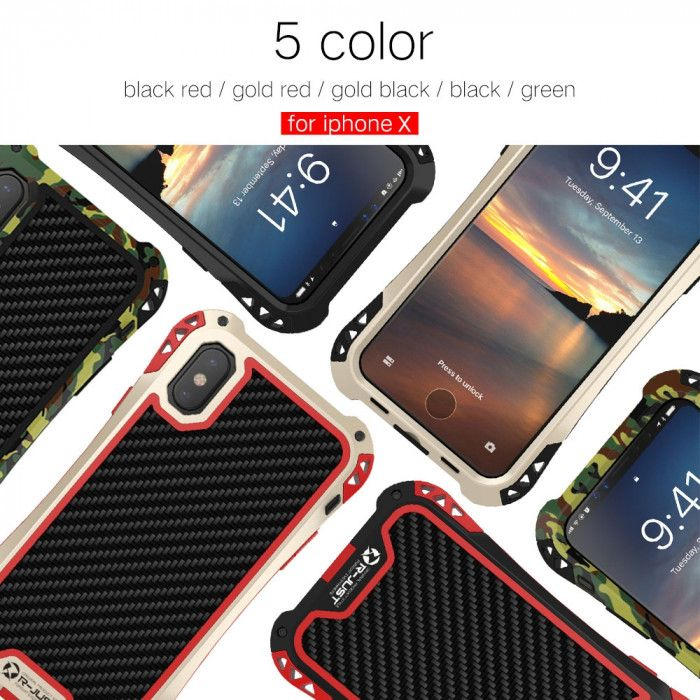 R-Just AMIRA Series Dirt Proof & Shock Proof Powerful Metal & Silicone Protective Case For iPhone X