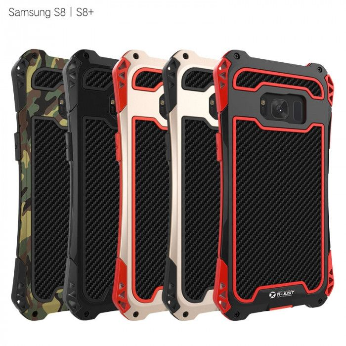 R-Just AMIRA Series Dirt Proof & Shock Proof Powerful Metal & Silicone Protective Case For Samsung S8/S8 Plus