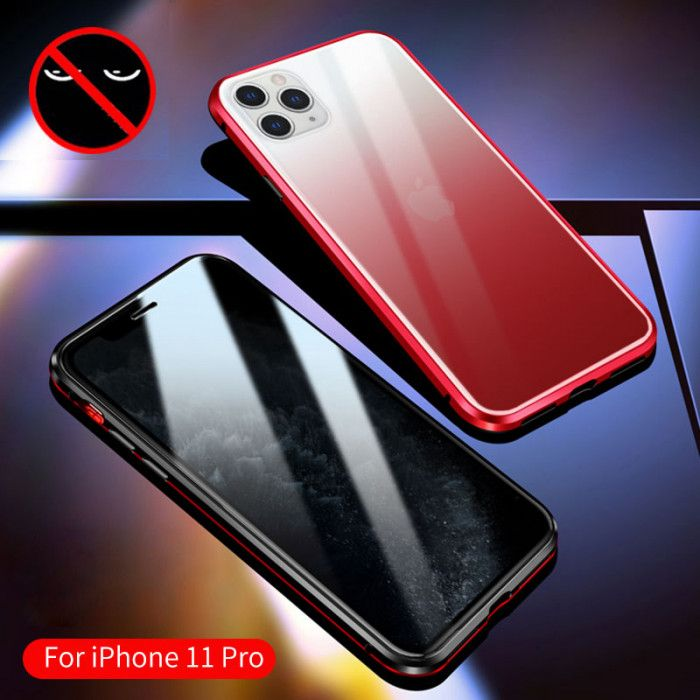 R-Just Anti-Peep Gradual Change Style Toughened Glass Magnetic Adsorption Metal Frame For iPhone 11 Pro Max/iPhone 11 Pro/iPhone 11