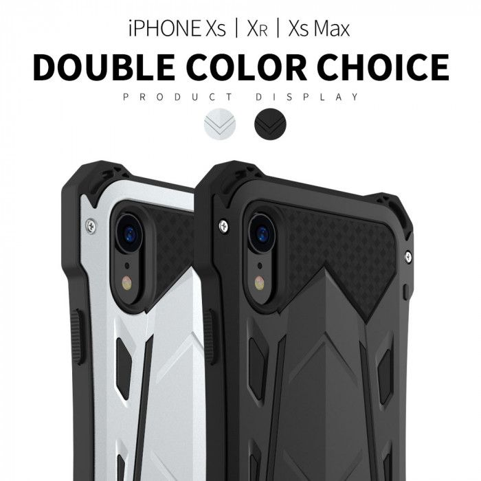 R-Just Armor Series Shock Proof Powerful Metal & Silicone Protective Case For iPhone XR/Xs/Xs Max