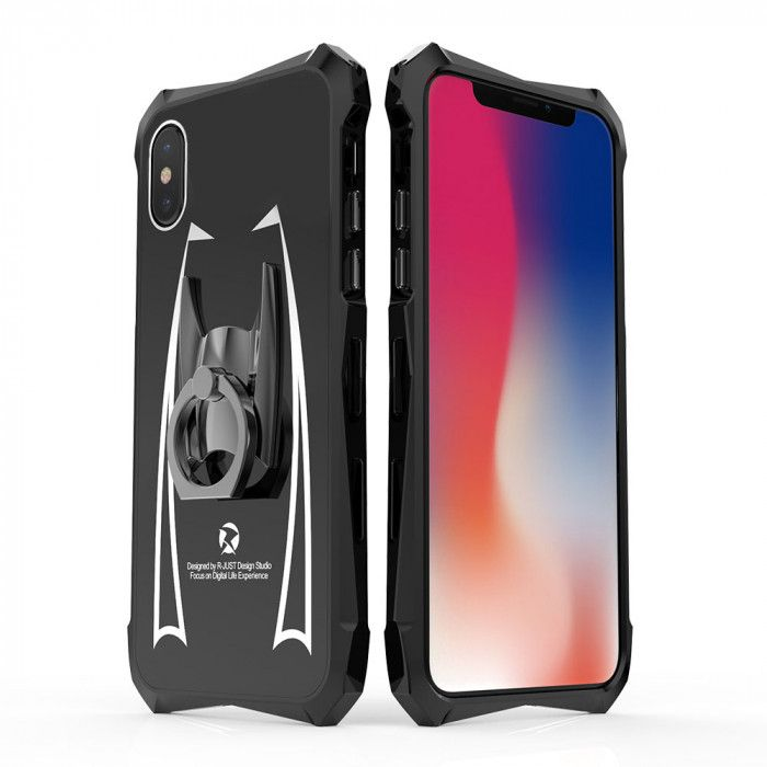 R-Just Cool Glass Texture Shockproof Metal Frame and Acrylic Backboard Back Cover Case For iPhone X/XS
