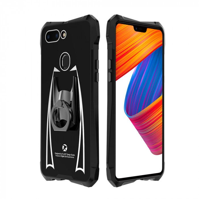 R-Just Cool Glass Texture Shockproof Metal Frame and Acrylic Backboard Back Cover Case For OPPO R15 / R15 Dream Mirror Edition