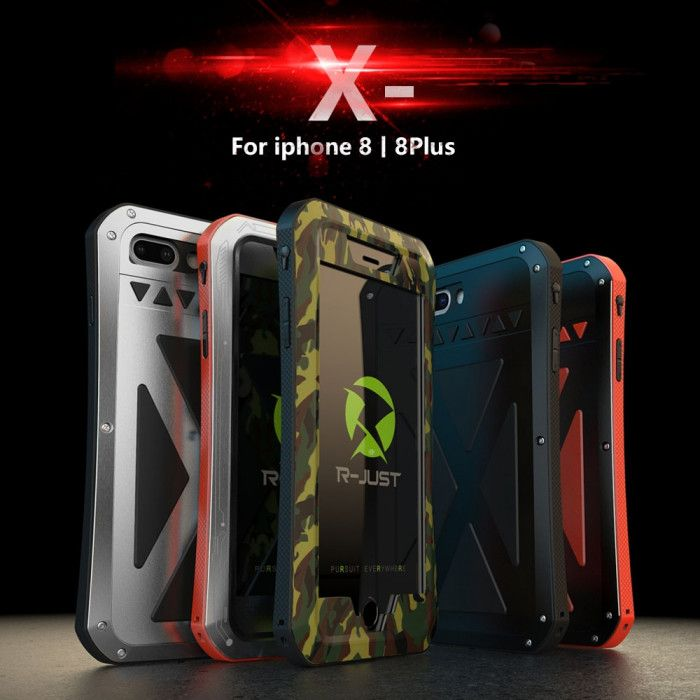 R-Just Dirt Proof & Shock Proof Powerful Metal & Silicone Protective Case For iPhone 8/8 Plus