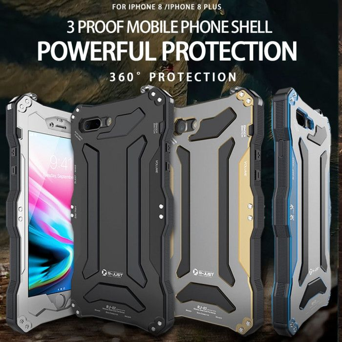R-Just Dirt Proof & Shock Proof & Water Proof Powerful Metal Protective Case For iPhone 8/8 Plus