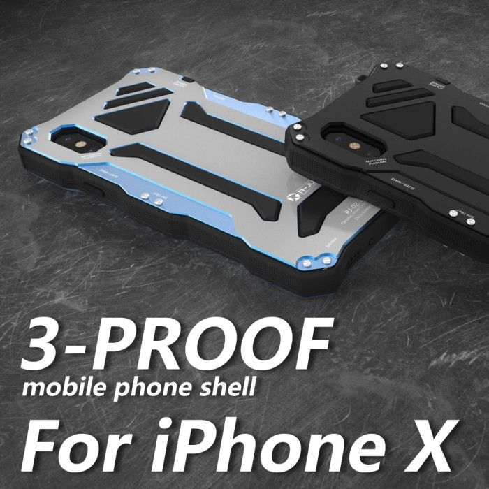 R-Just Dirt Proof & Shock Proof & Water Proof Powerful Metal Protective Case For iPhone X
