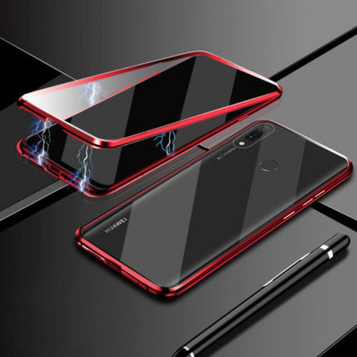 R-Just Double Sided Toughened Glass Magnetic Adsorption Metal Frame For HUAWEI Enjoy 9 Plus