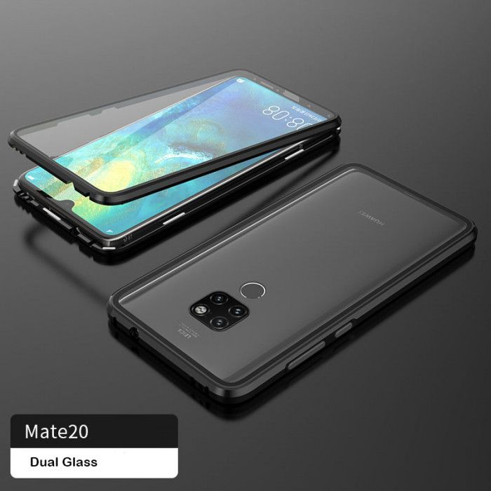 R-Just Double Sided Toughened Glass Magnetic Adsorption Metal Frame For HUAWEI Mate 20 Pro/Mate 20