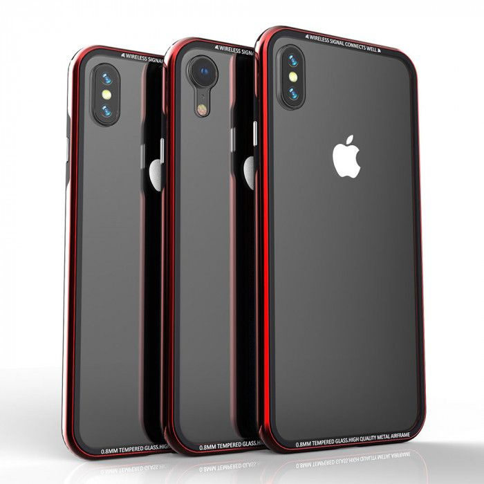 R-Just Hermit Series Shockproof Metal Bumper+Tempered Glass Back Cover Case For iPhone XR/Xs/Xs Max