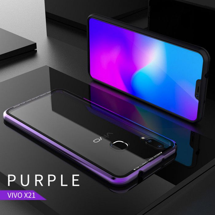 R-Just Hermit Series Shockproof Metal Bumper+Tempered Glass Back Cover Case For ViVO X21/X21 Screen Fingerprint Edition