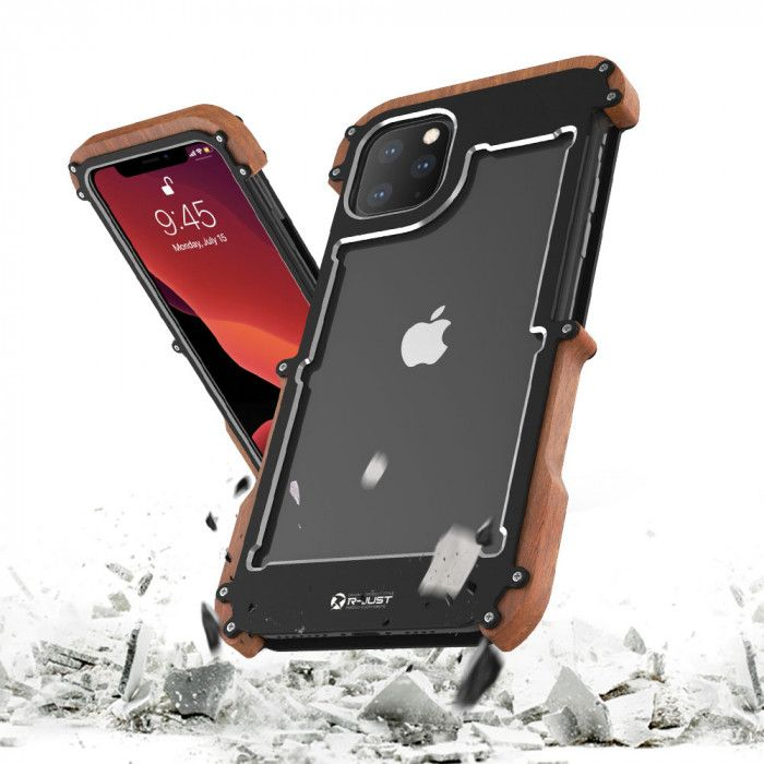R-Just Ironman Series Metal & Wood Shockproof Bumper Protective Case For iPhone 11 Pro Max/iPhone 11 Pro/iPhone 11