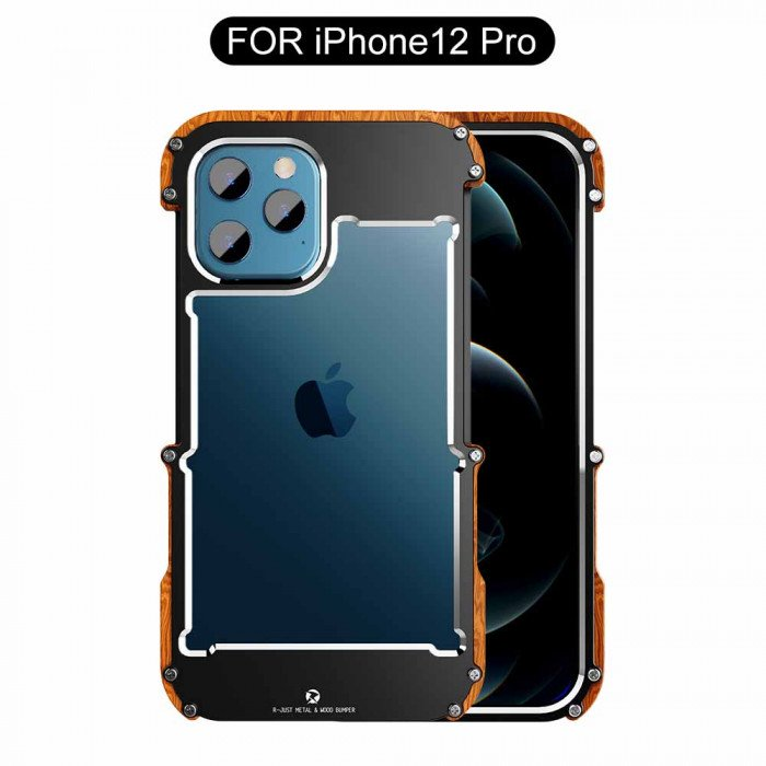 R-Just Ironman Series Metal & Wood Shockproof Bumper Protective Case For iPhone 12 Pro Max/12 Pro/12 Mini/12