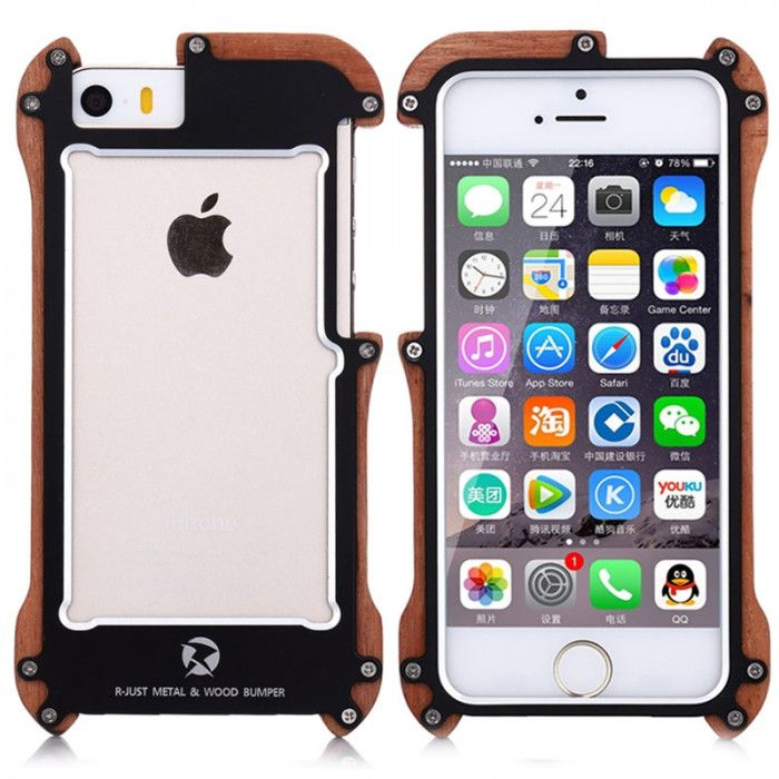 R-Just Ironman Series Metal & Wood Shockproof Bumper Protective Case For iPhone 5/5S/SE