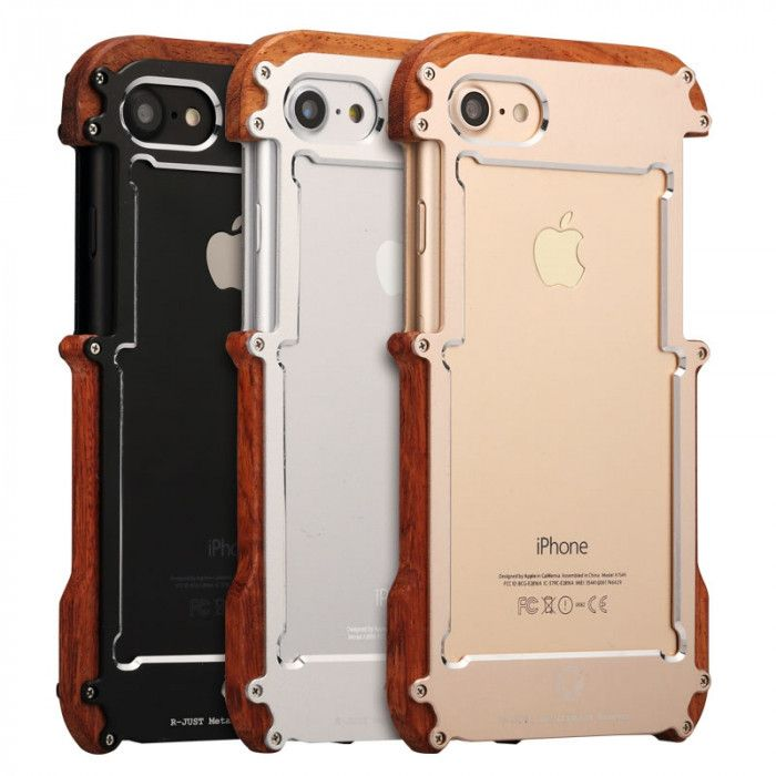 R-Just Ironman Series Metal & Wood Shockproof Bumper Protective Case For iPhone 6P/7P/8P