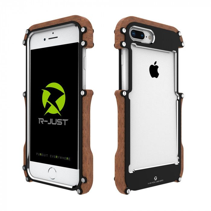 R-Just Ironman Series Metal & Wood Shockproof Bumper Protective Case For iPhone 8/8 Plus