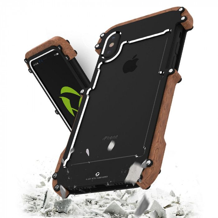 R-Just Ironman Series Metal & Wood Shockproof Bumper Protective Case For iPhone X