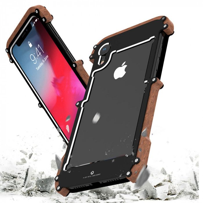 R-Just Ironman Series Metal & Wood Shockproof Bumper Protective Case For iPhone XR/Xs/Xs Max