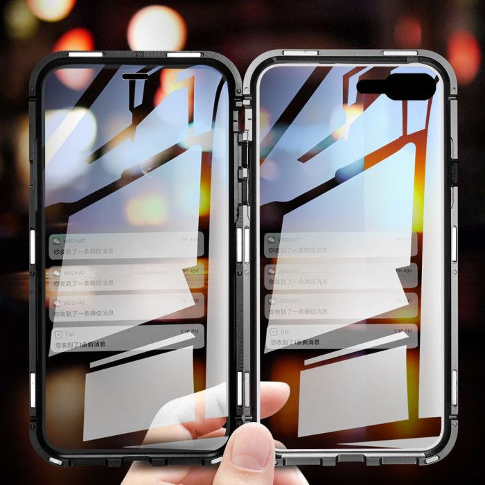 R-Just Magnetic Adsorption Metal Bumper+Double Tempered Glass Back Cover Case For iPhone 7/8/7 Plus/8 Plus
