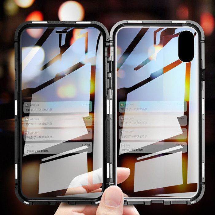R-Just Magnetic Adsorption Metal Bumper Double Tempered Glass Back Cover Case For iPhone X/XS/XS MAX/XR