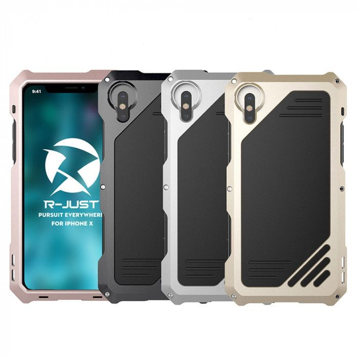 R-Just Powerful Metal Photograph Protective Case With External Camera Bayonet For iPhone X