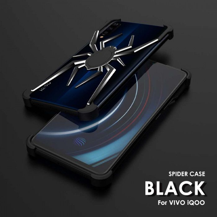 R-Just Shockproof Aluminum Alloy Metal Shining Spider Case For VIVO iQOO