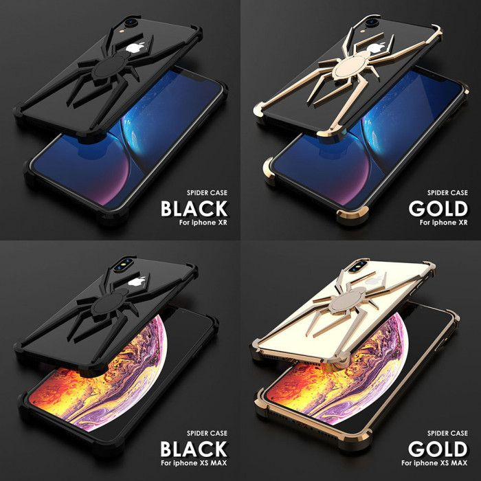 R-Just Shockproof Aluminum Alloy Metal Spider Case For iPhone XR/XS Max/XS/X