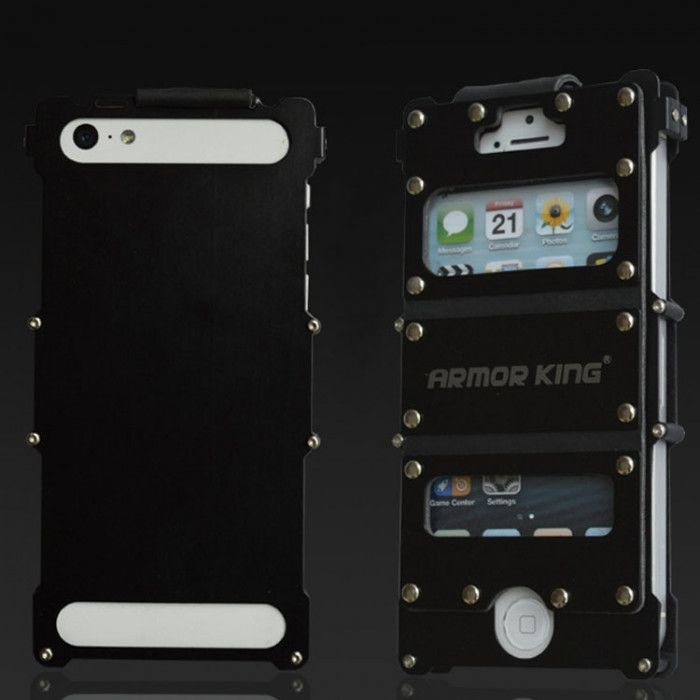 R-Just Stainless Steel+Leather Shockproof Multifuction Clamshell Case For iPhone 5/5S/SE