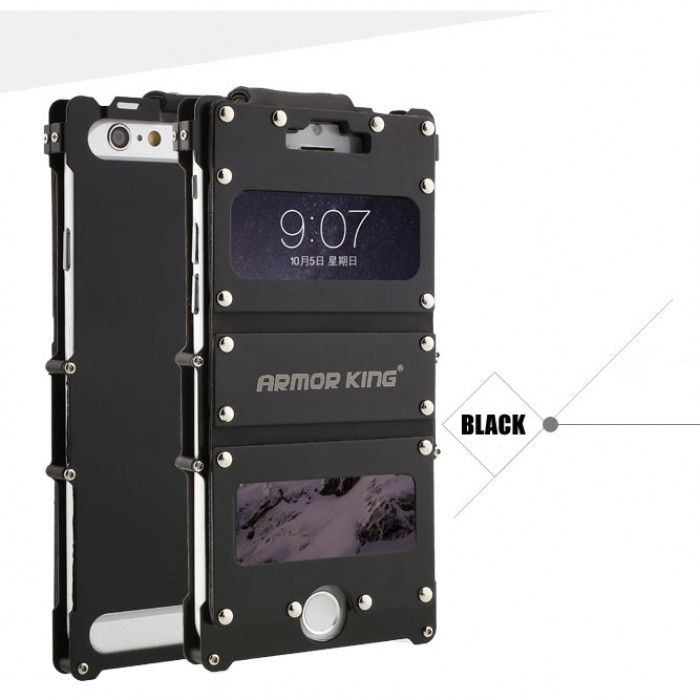 R-Just Stainless Steel+Leather Shockproof Multifuction Clamshell Case For iPhone 6/6S/Plus
