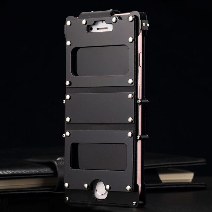 R-Just Stainless Steel+Leather Shockproof Multifuction Clamshell Case For iPhone 7/7 Plus