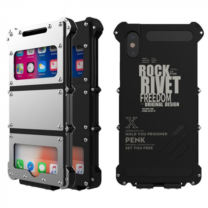 R-Just Stainless Steel+Leather Shockproof Multifuction Clamshell Case For iPhone X