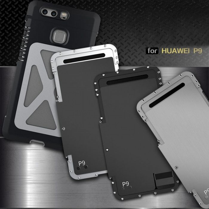 R-Just Stainless Steel Metal Full Protection Shockproof Flip Protective Case For Huawei P9