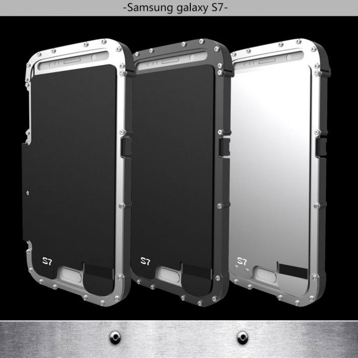 R-Just Stainless Steel Metal Full Protection Shockproof Flip Protective Case For Samsung S7/S7 Plus