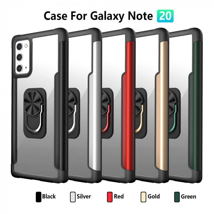 R-Just TPU & Metal Frame Transparent PC Board Back Cover For Samsung GALAXY Note 20