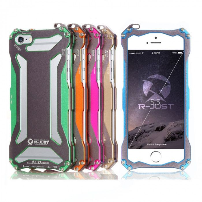 R-Just Ultra Thin Cool Aluminum Alloy Shock Proof Metal Shell With Hook Design For iPhone 6S Plus