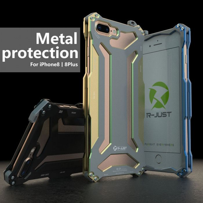 R-Just Ultra Thin Cool Aluminum Alloy Shock Proof Metal Shell With Hook Design For iPhone 8/8 Plus
